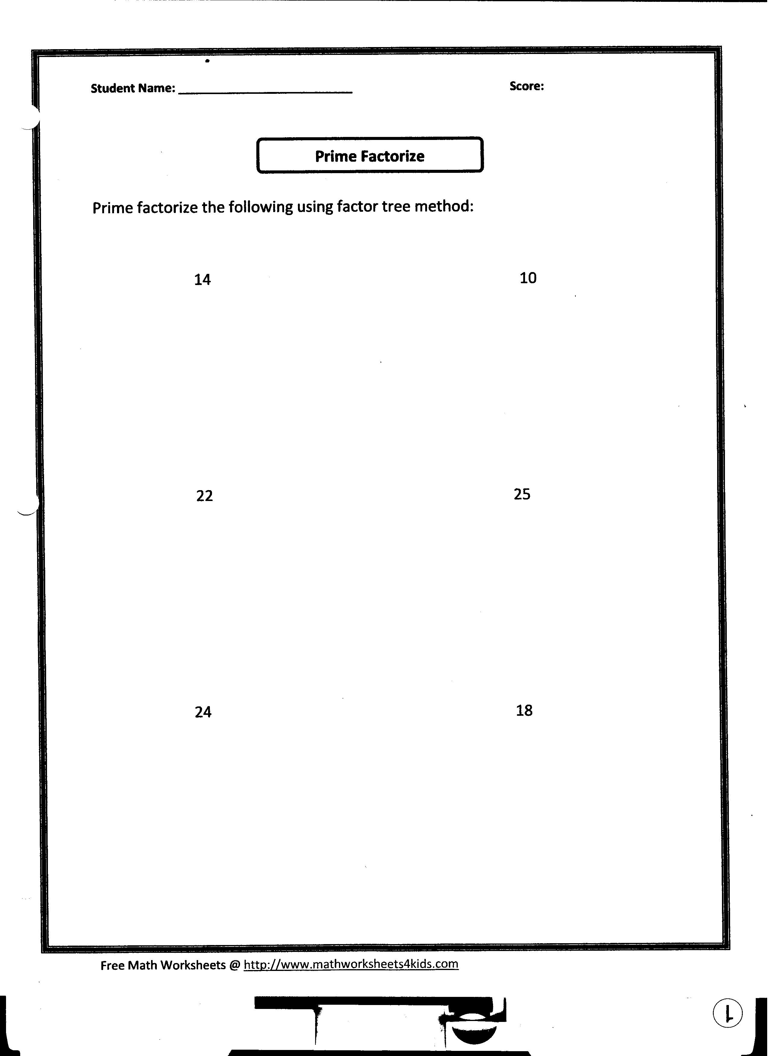 Factor Tree Worksheet Print
