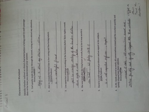 small resolution of Characterization Worksheet 1 Answers - Worksheet List