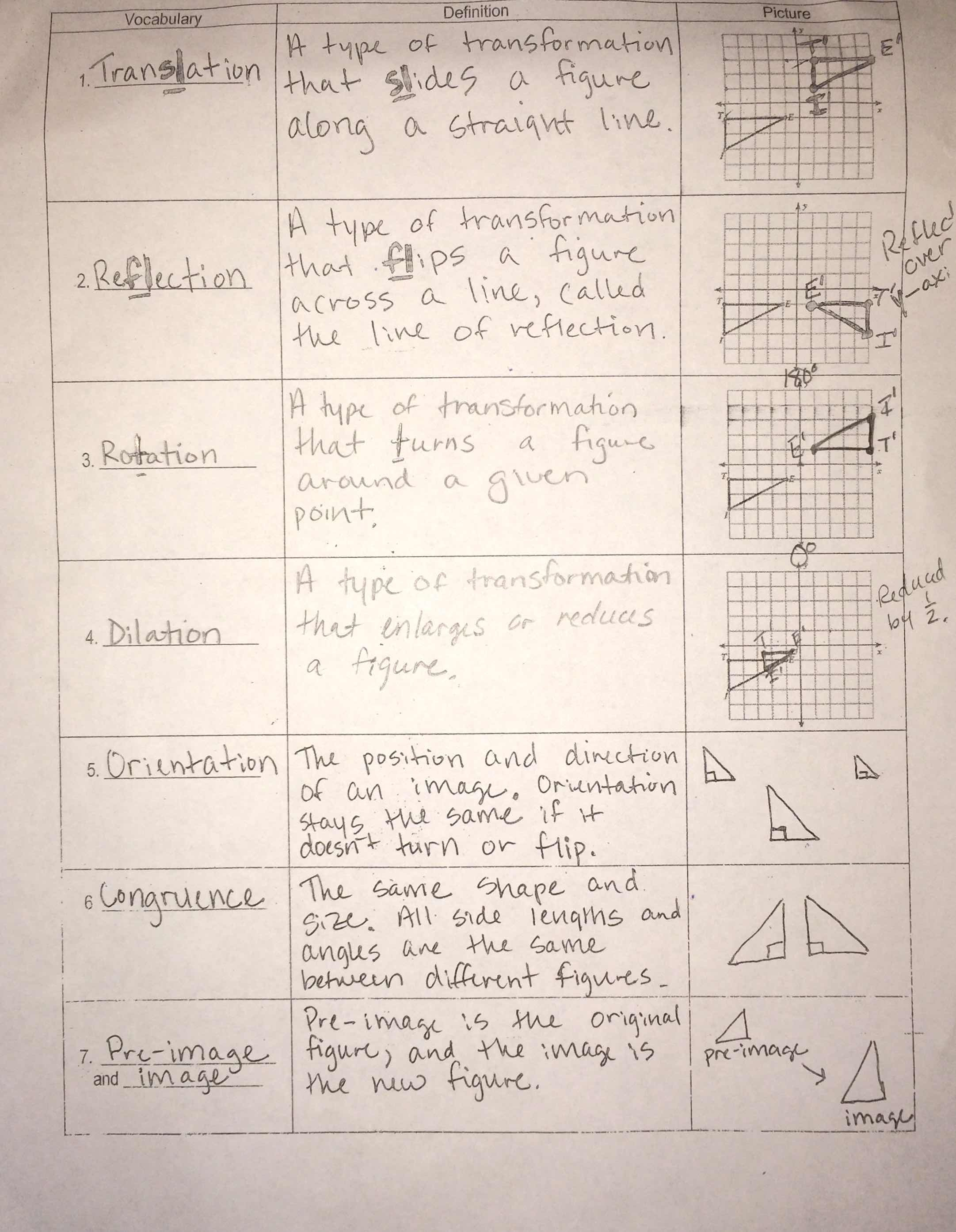 Geometry Multiple Transformations Worksheet Answers