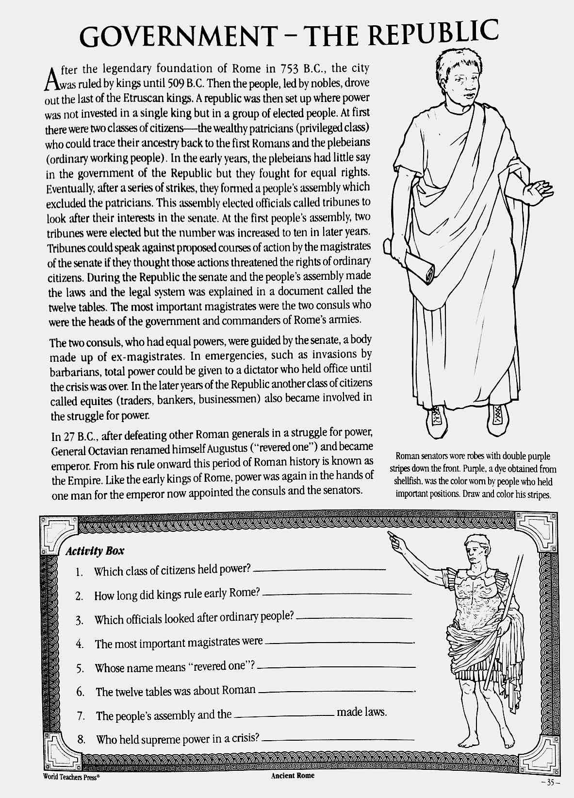 The Roman Republic Worksheet 3 Who Ran The Roman Republic