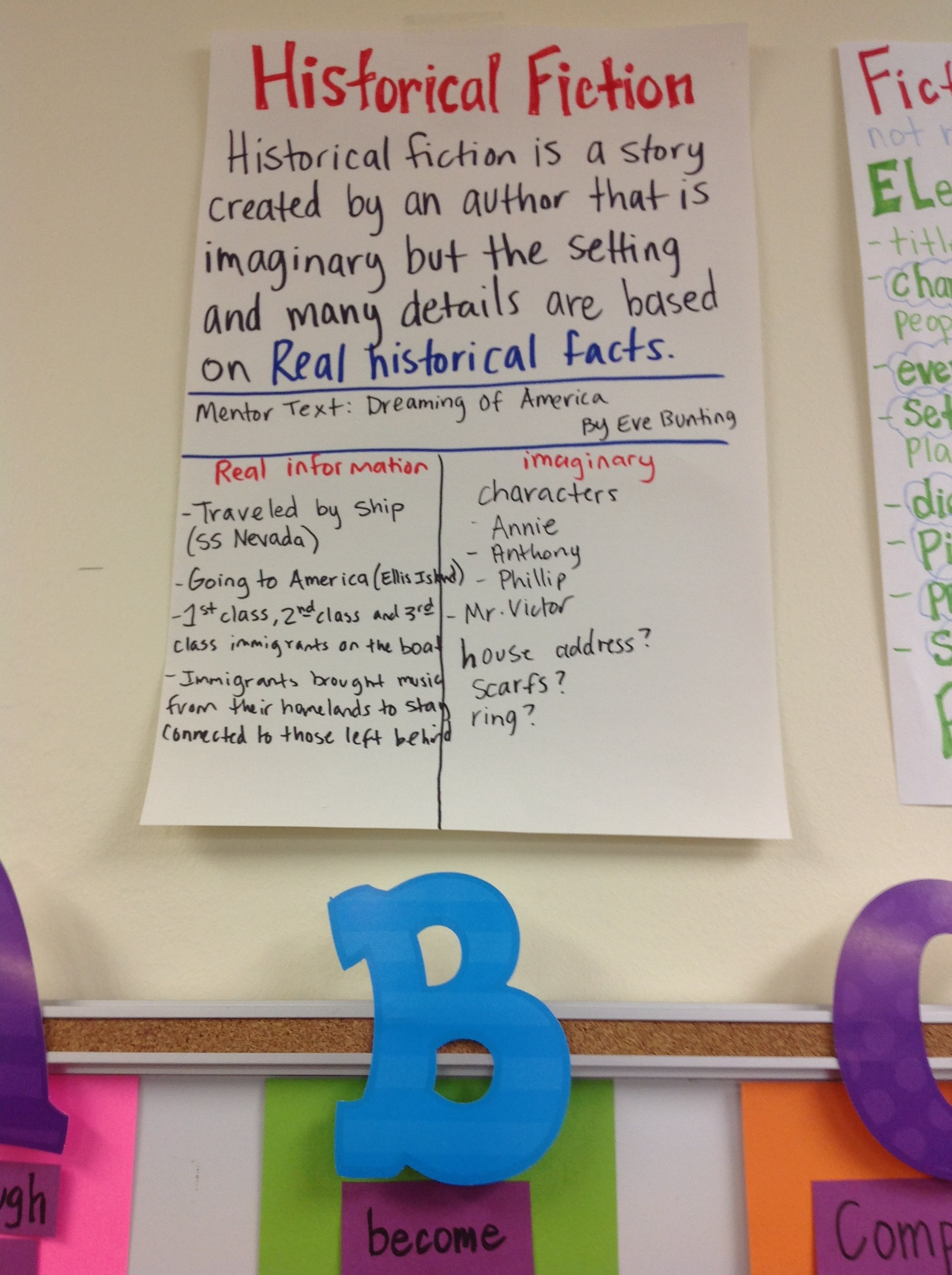 Genre study historical fiction elements of also pictures anchor charts no drama here rh sites google