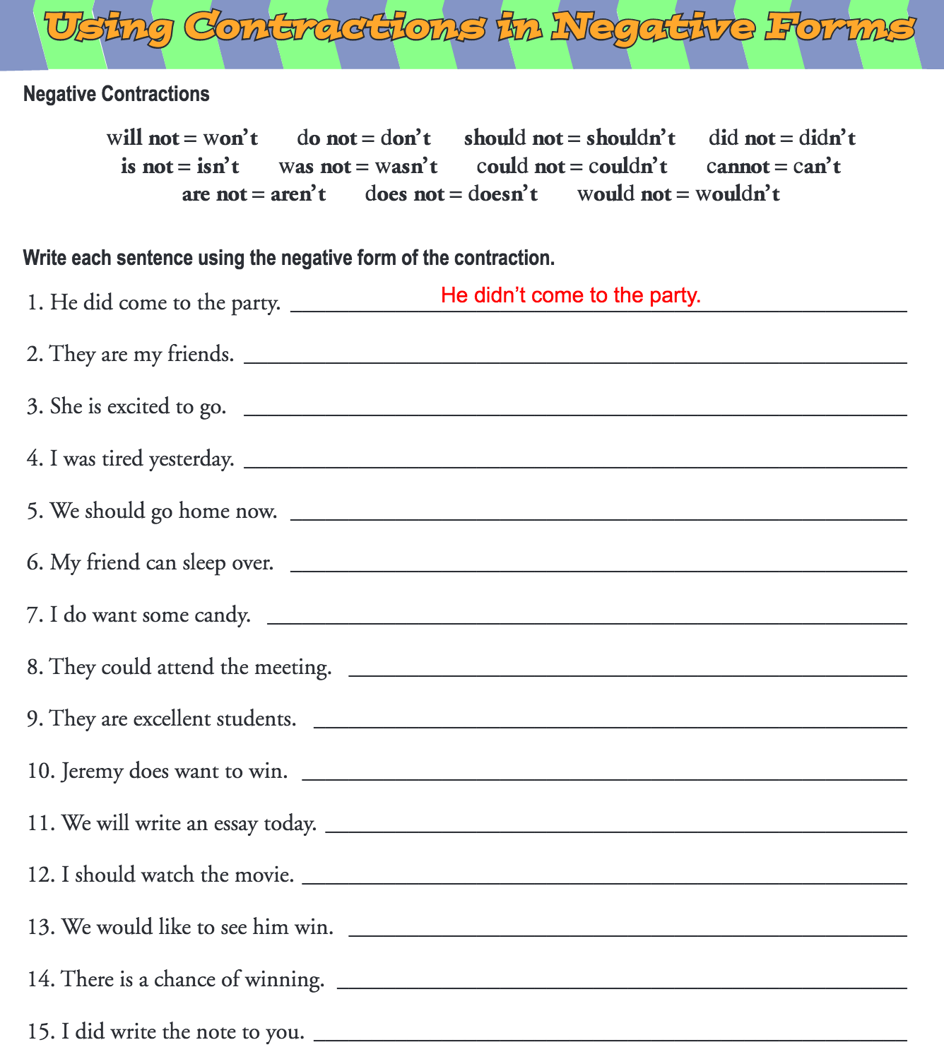 hight resolution of Negative Contractions Worksheet   Printable Worksheets and Activities for  Teachers