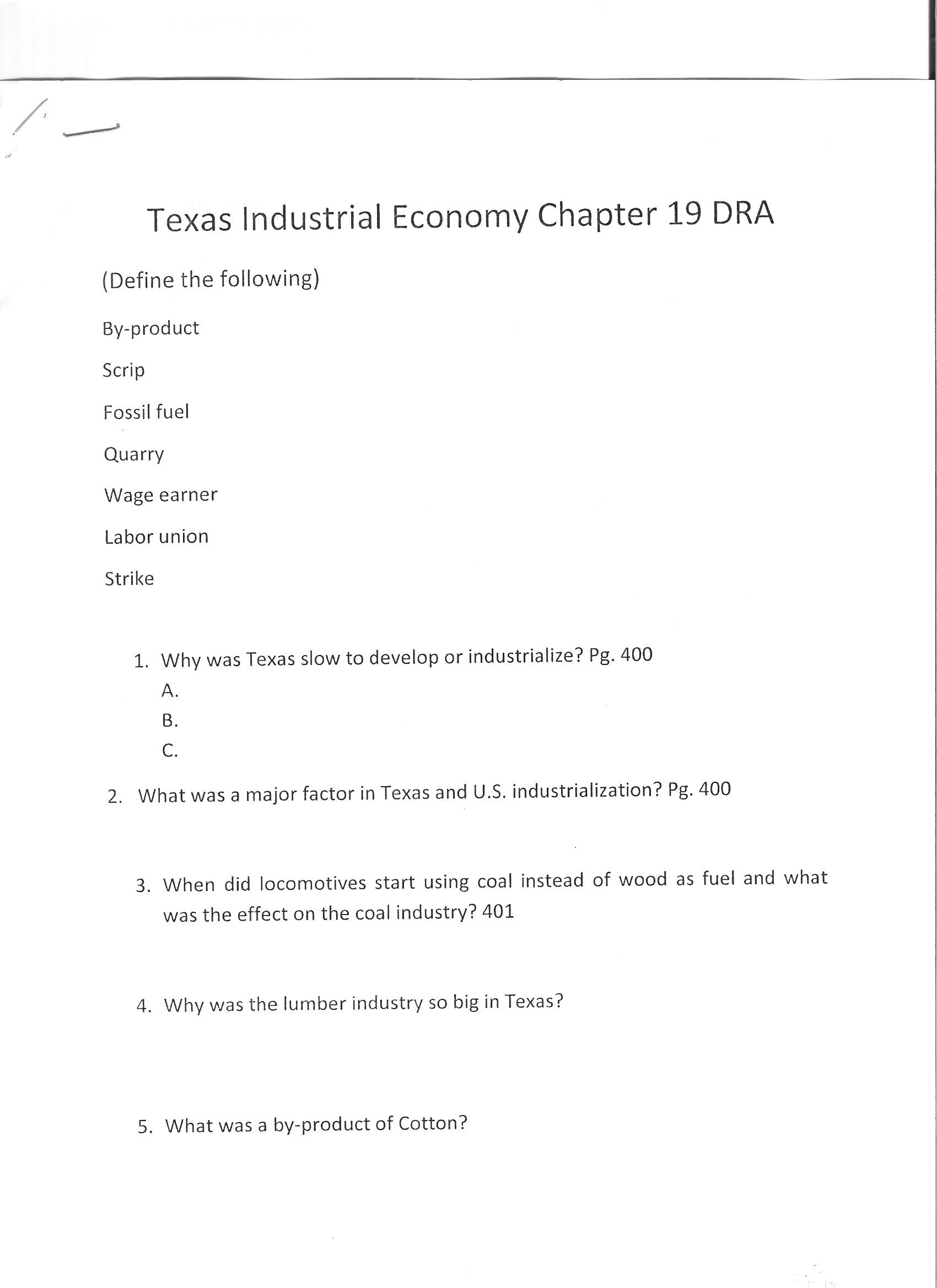 Texas History Agenda Homework
