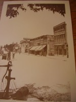 A photo of Water pump on Main Street as depicted by Roanoke artist, Bob Rose