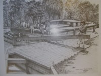 A photo of Canal and Dickey Lock as depicted by Roanoke artist, Bob Rose