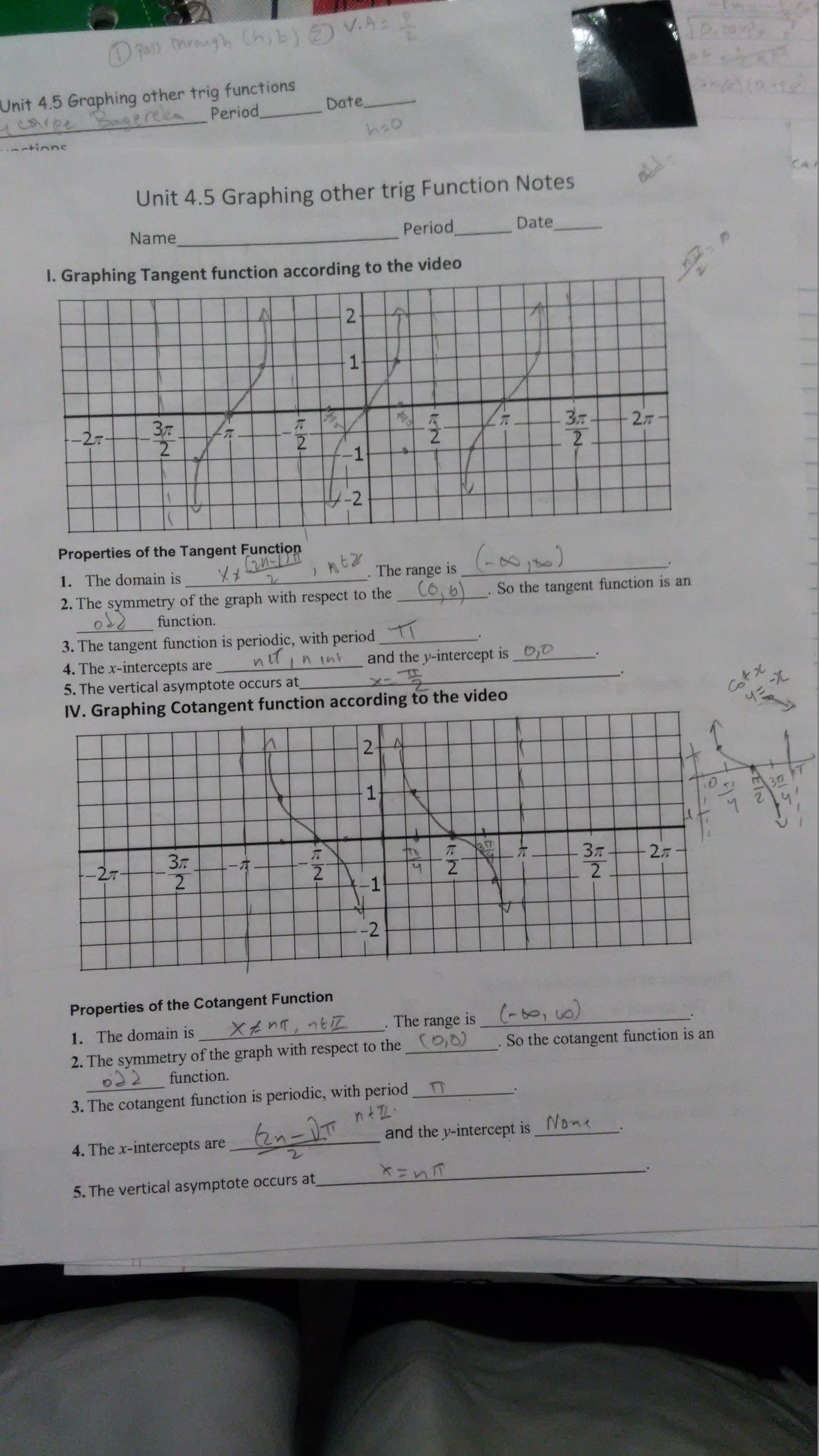 Lesson 5 Graphing Other Trigonometric Functions