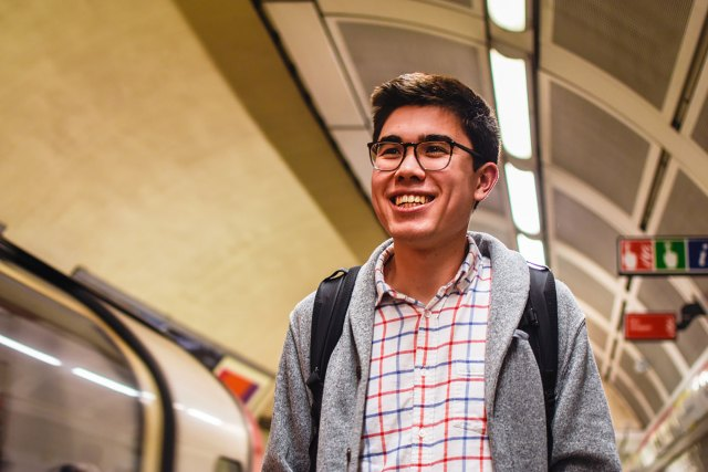 Jacob DeCastro in a Tube station