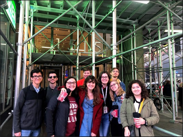 Some of the students who live in the Media LLC toured Viacom during their trip to New York. From left, the students are Zach Hsu, Jacob Einstein, Madelyn Knight, Josh Kozicki, Veronica Rooney, Morgan Jones, Zachary Eason, Molly Shassberger and Claudia Gonzalez-Diaz.