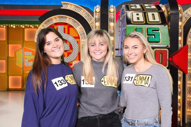 "Three women on the set of ""The Price is Right"""