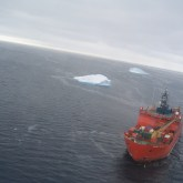 Icebreaker Aurora Australis from helicopter
