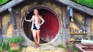 Stereotypical tourist photo at a hobbit hole