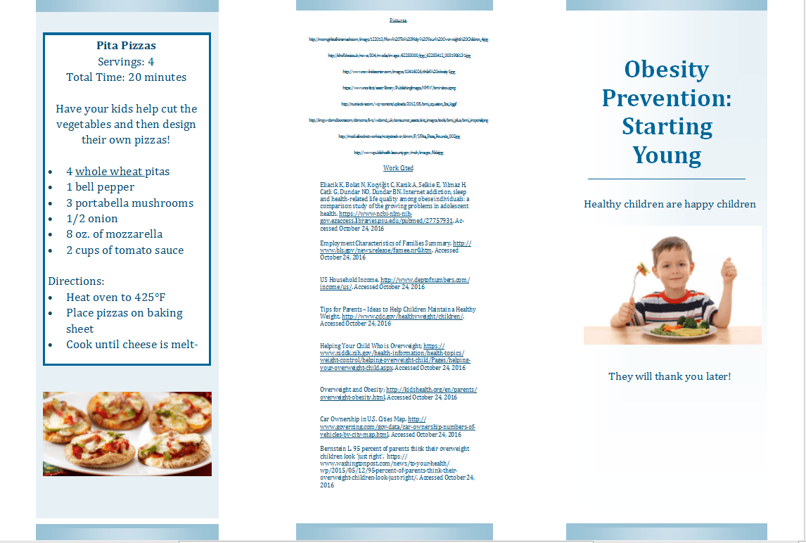 Obesity Prevention Starting Young Brochure