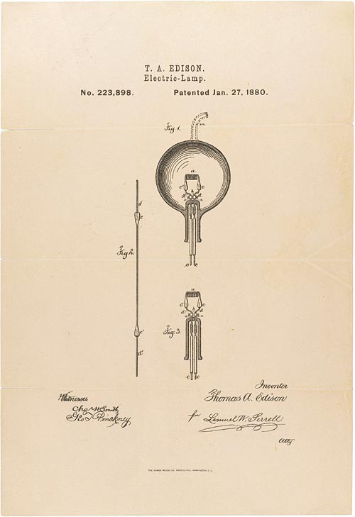 Edison Light Bulb Patent