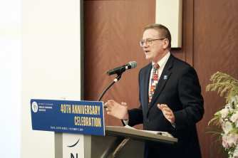 Dr. Stevens welcomes the crowd at the ELI 40 alumni event in Seoul.