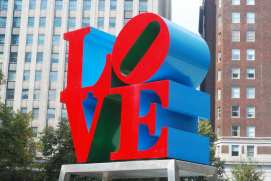 Robert Indiana's bright red, blue and green LOVE sculpture in Philadelphia
