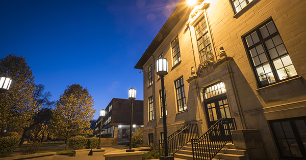 The Commerce and Finance building at night