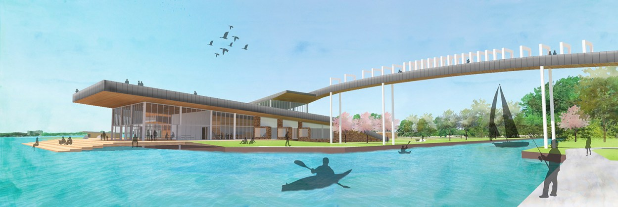 Matthew Northcott '19's vision for the underused waterfront in the Jefferson/Chalmers area of Detroit.
