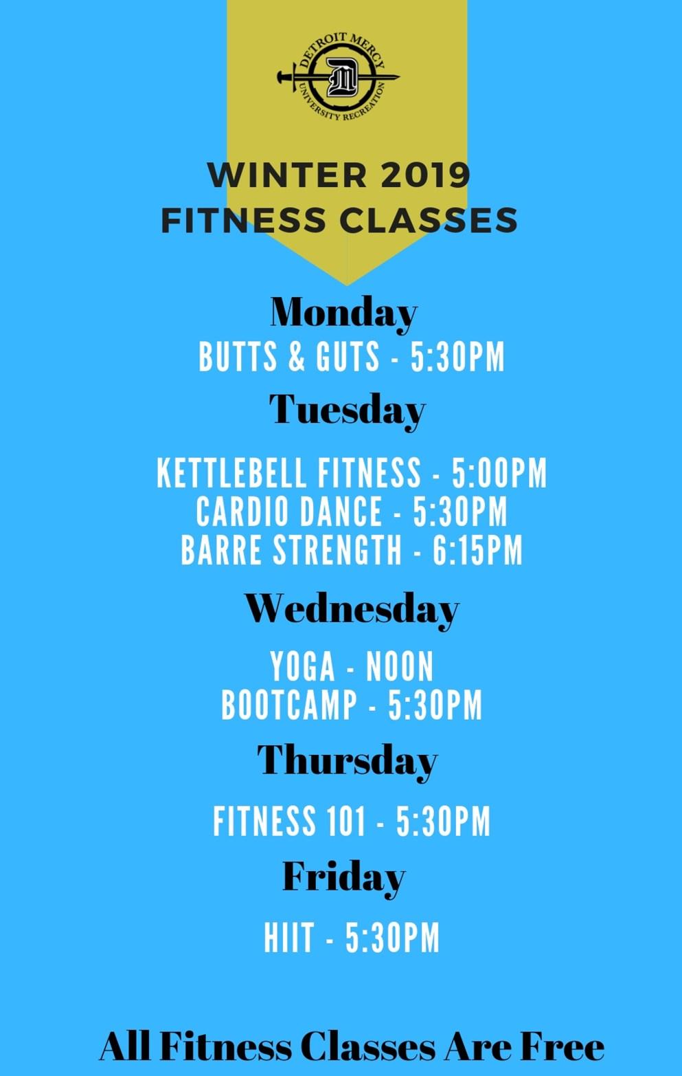 University Recreation Winter 2019 Fitness Classes