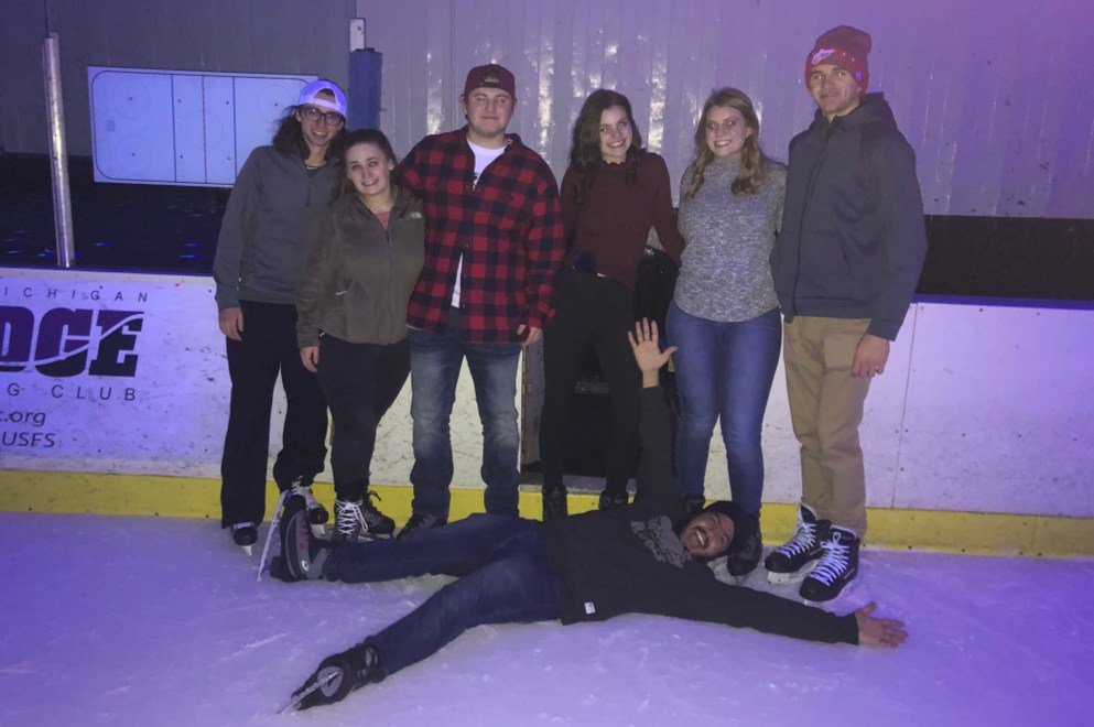 Falling over laughing at glow skate 2019