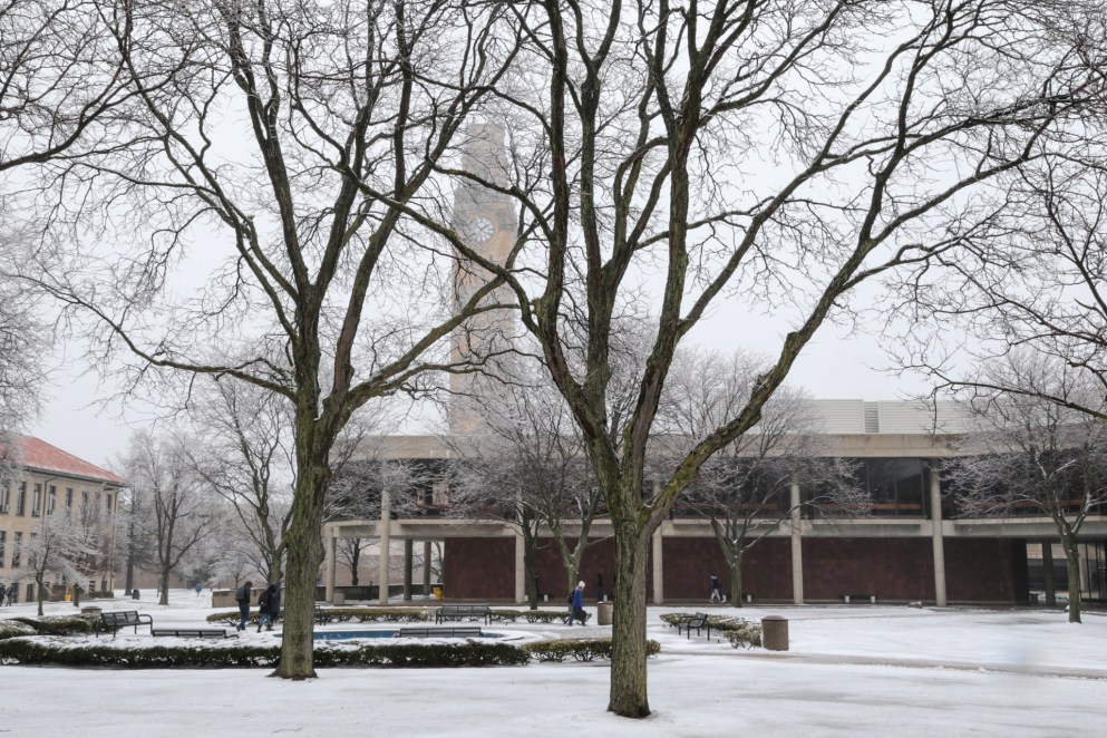 Winter 2019 McNichols Campus shot of clocktower