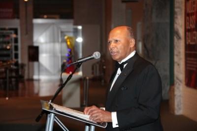 University President Antoine M. Garibaldi at the President's Christmas Party