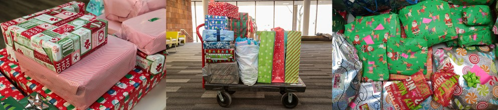 Tons of presents from Detroit Mercy Adopt-a-Famly 2019