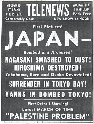 Old Detroit sign regarding atomic bombs dropped in Japan, 75 years ago during WWII.