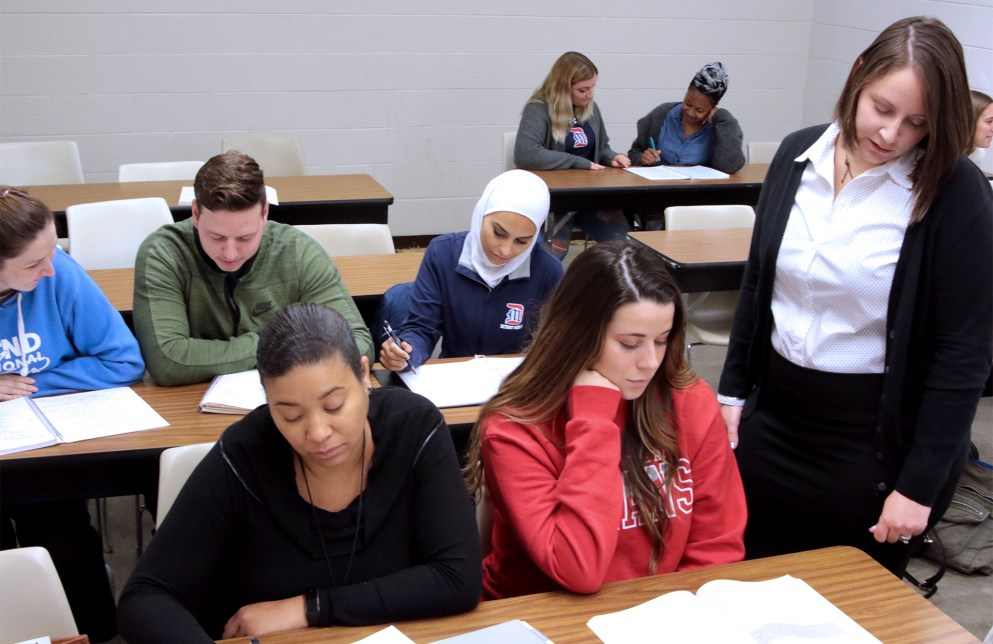 Students in a classroom at Detroit Mercy