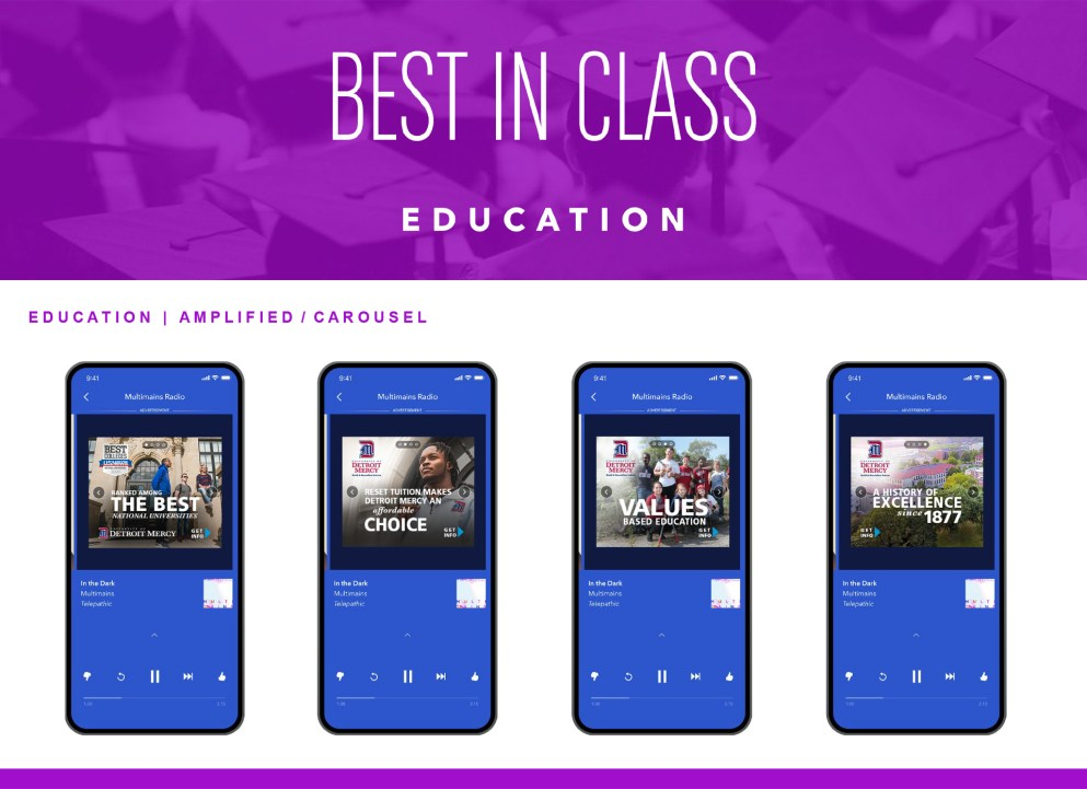 """Pandora Detroit Mercy """"Best in Class"""" Distinction graphic of iphones showing marketing assets."""