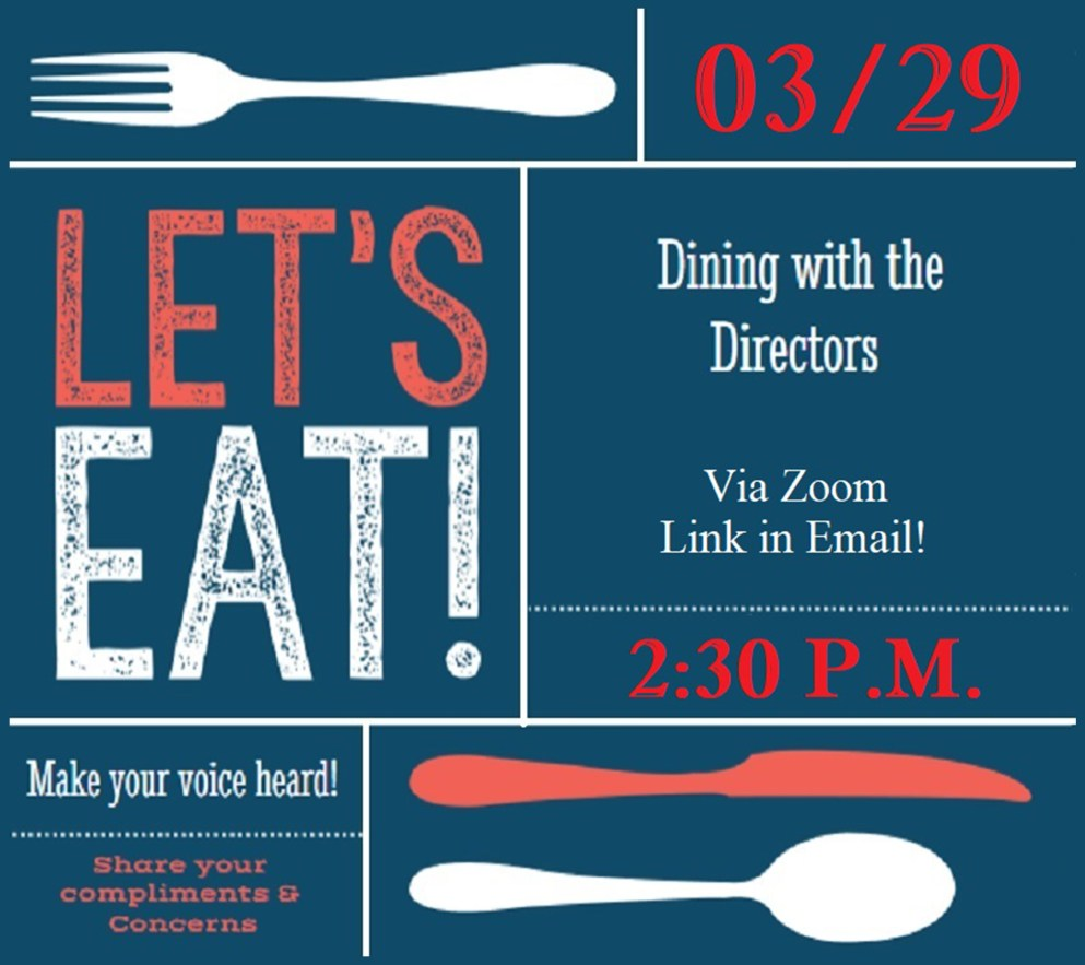 Student Government graphic for dining event with forks an knives and spoons on a blue background.