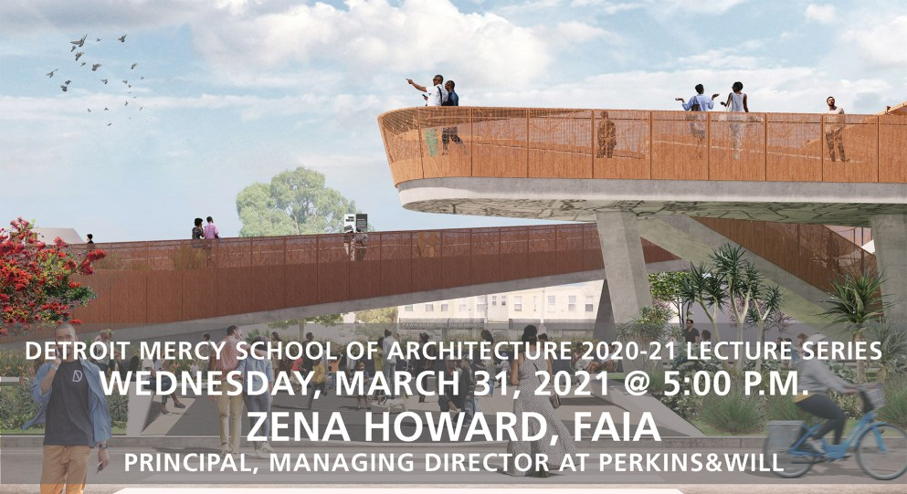 School of Architecture graphic of a planned building and the lecturer's name Zena Howard on display.