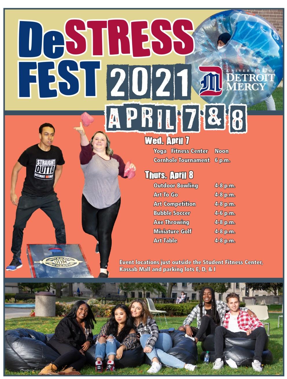 De-Stress Fest 2021 Flier with students playing cornhole.