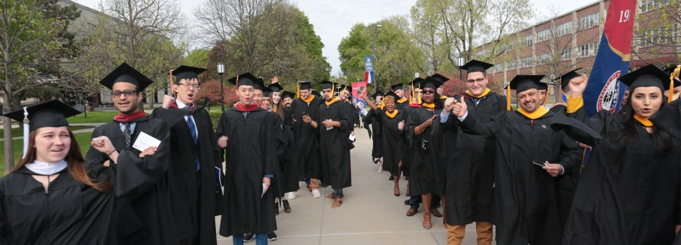 Detroit Mercy Class of 2020 walking to Commencement.
