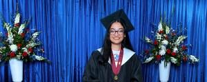 Nurzahan Rahman smiles while giving her valedictorian speech for Detroit Mercy's virtual commencement.