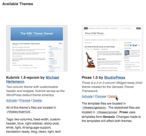 Delete the Prose 1.0 theme from Available Themes