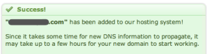 """DreamHost """"Success"""" message after adding a domain"""