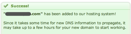 "DreamHost ""Success"" message after adding a domain"