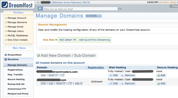 "DreamHost ""Manage Domains"" screen"