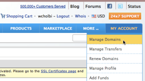 """Namecheap """"My Account"""" tab with """"Manage Domains"""" selected"""