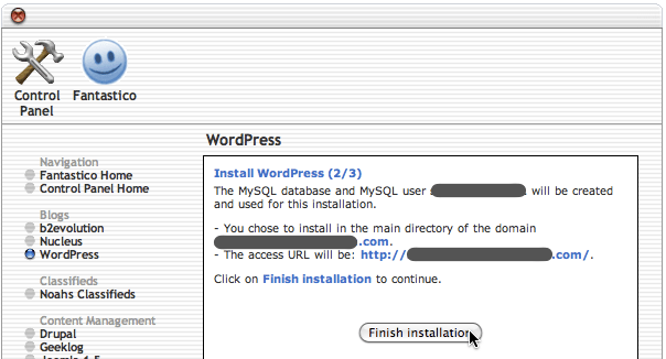 Fantastico WordPress installation page 2 of 3