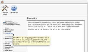 Fantastico installer: Select WordPress