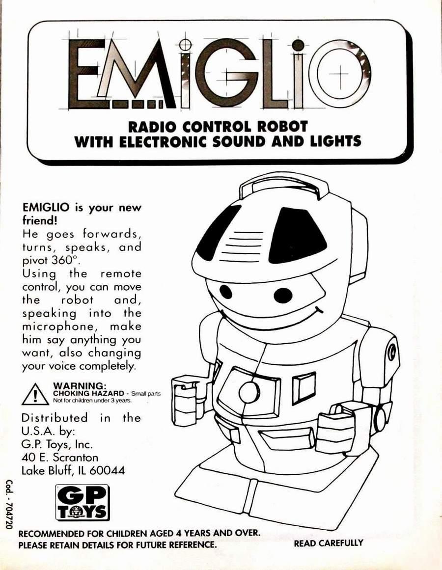 E.M.I.G.L.I.O Robot by Giochi Preziosi Instruction Manual