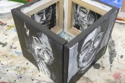 End up with canvases, painted on both sides (front & back)
