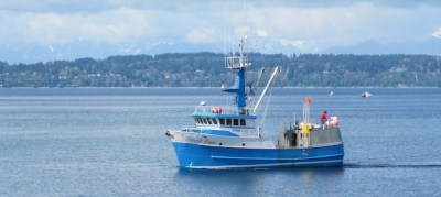 F/V Coral Lee is Puget's Sound's Elliot Bay. She is entering the Washington Ship Canal for her bi-annual haulout. (Photo courtesy of Mike Mayo)