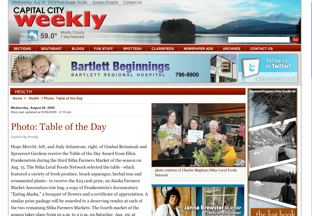 Screenshot of Capital City Weekly site with the Table of the Day Winners from the third Sitka Farmers Market