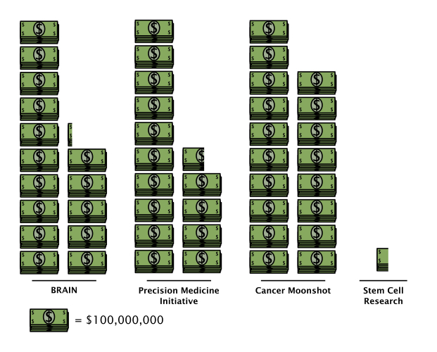 Figure 1. The 21st Century Cures Act represents a sizable investment in translational research by the U.S government. The allocation of this money into various government programs or research areas, in blocks of $100 million, is shown above.