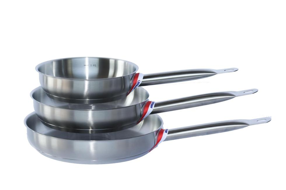 set of three stainless steel fry pans