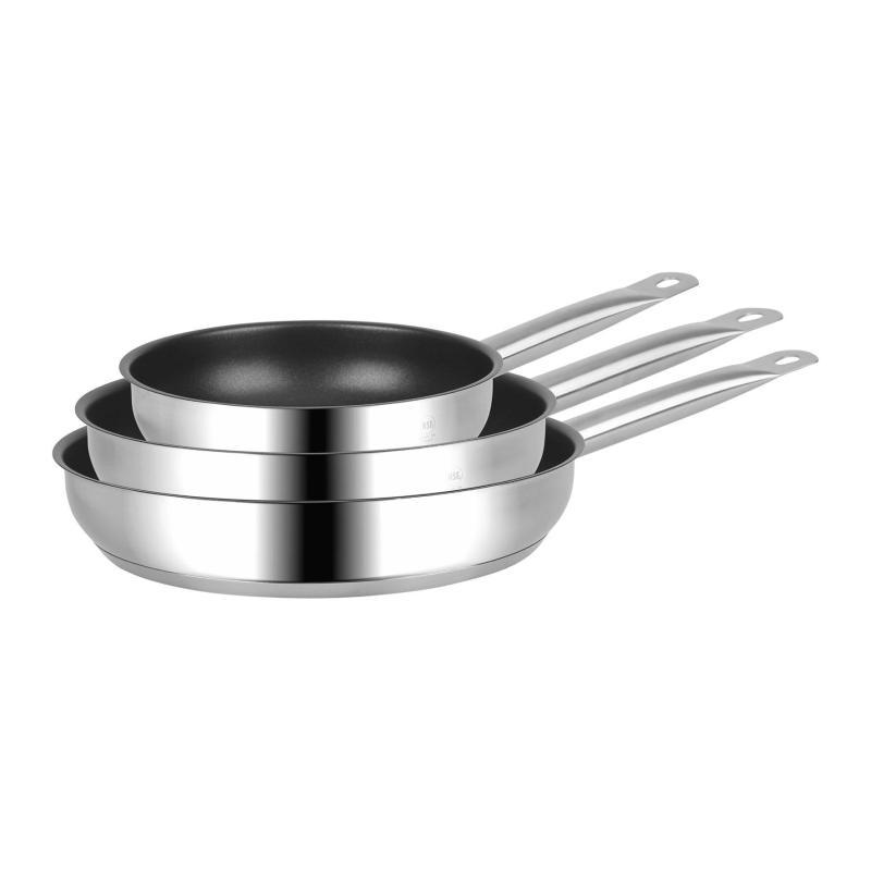 set of three nonstick fry pans