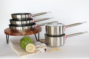 Set of three nonstick pans and 2 saucepans