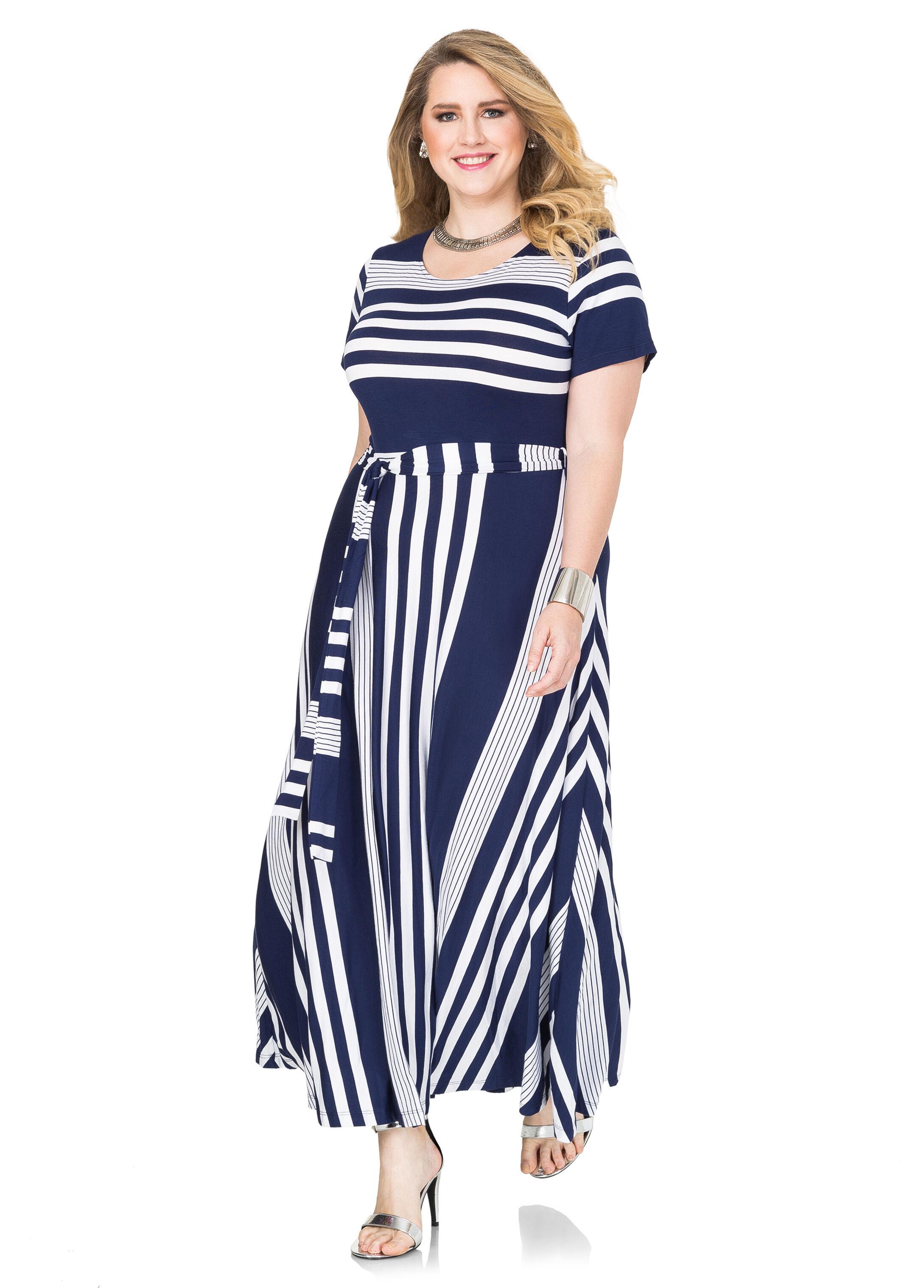 Striped T-shirt Maxi Dress- Size Dresses-ashley